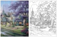 Larger View: Thomas Kinkade Coloring Book Image 1