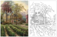 Larger View: Thomas Kinkade Coloring Book Image 2