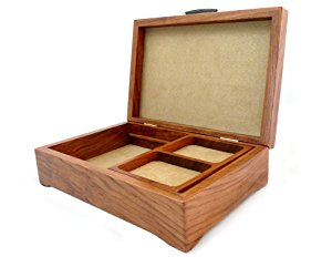 Burl Walnut and Sapele Handcrafted Hardwood Valet Box