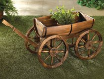 Wooden Apple Barrel Potted Plants Wagon