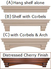 Pearl Mantels 495-60 Auburn Arched 60-Inch Wood Fireplace Mantel Shelf, Unfinished