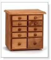 Spice Racks Unfinished Pine, 10 Drawer Spice Chest