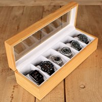 Solid Wood Watch Box Organizer with Glass Display Top