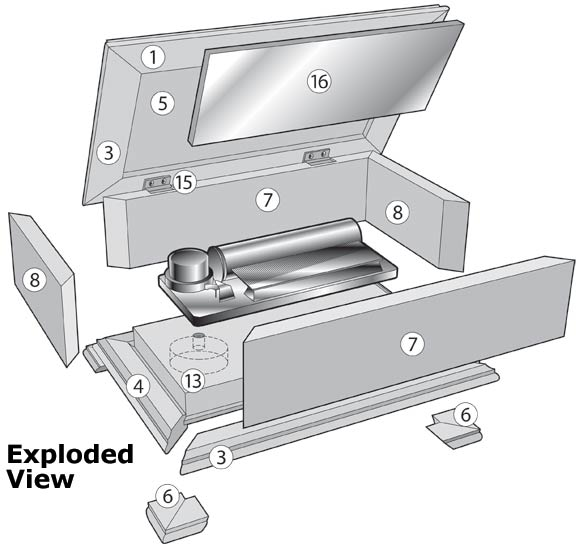 Music Box Exploded View - Woodworking Plan