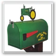 John Deere Rural Style Mailbox with Model 'B' Tractor Topper