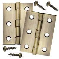 Narrow Miniature Antique-Brass Hinges