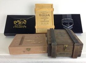 Premium Wooden Empty Cigar Boxes (5 Pack)