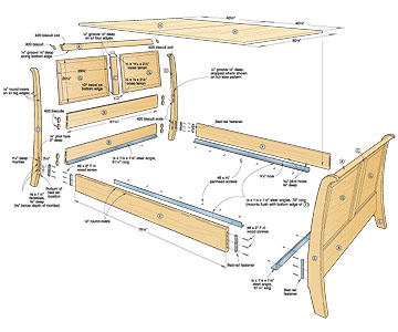 Sleigh Bed Exploded View